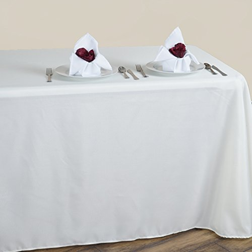 LinenTablecloth 90 x 132 in. Rectangular Polyester Tablecloth Ivory