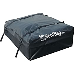 RoofBag Waterproof | Made in USA | 1 Year Warranty | Fits ALL Cars: With Side Rails, Cross Bars or No Rack | Car Top Carrier includes Heavy Duty Straps