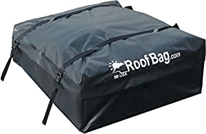 camping gear storage in a rooftop cargo bag