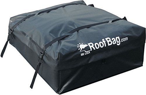 (RoofBag Waterproof | Made in USA | 1 Year Warranty | Fits ALL Cars: With Side Rails, Cross Bars or No Rack | Car Top Carrier includes Heavy Duty Straps)