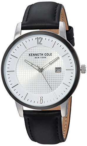 - Kenneth Cole New York Stainless Steel Analog-Quartz Watch with Leather Strap, Black, 22 (Model: KC50179001