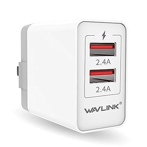 Wavlink 24W USB Travel Wall Charger Dual Port With Foldable US Plug for iPhone iPad Samsung HTC LG Smart Phone Pad (Smartphone Wall Plug)