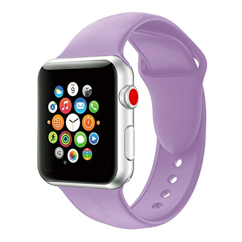 Youther for Apple Watch Bands, Soft Silicone Strap Replacement Wristbands for Apple Watch Sport Series 3 Series 2 Series 1 Light Purple 38mm S/M (Series Purple)
