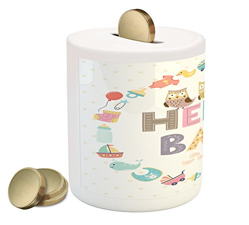 Ambesonne Baby Shower Coin Box Bank, Hello Baby Quote with Kids Elements and Funny Owl Birds Welcome Newborn Party, Printed Ceramic Coin Bank Money Box for Cash Saving, Multicolor by Ambesonne