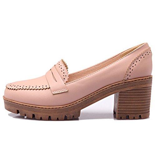 VogueZone009 Damen Mittler Absatz Rein Ziehen auf Weiches Material Rund Zehe Pumps Schuhe Pink