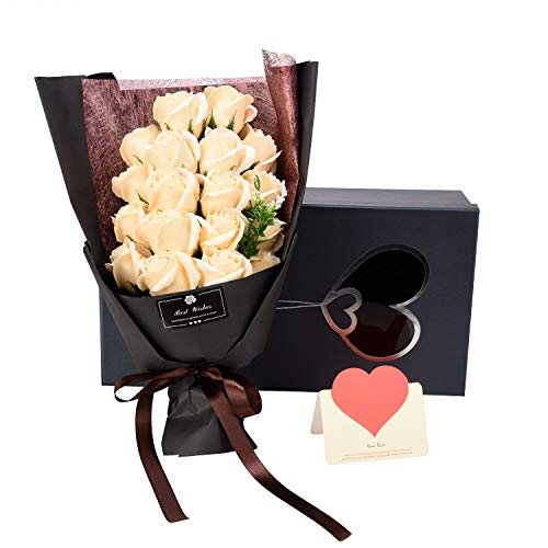 [해외]장미과 AlfaView 꽃다발 선물 장미 백합 시드는 꽃 축 결혼 선물 프로포즈 선물 결혼 기념일 발렌타인 데이 생일 축 하 어머니의 날 경로의 날 카드 (18) (백색) / Soap Flower AlfaView Bouquet Gift Rose Lily Unerred Flowers Wedding Gift Sarit...