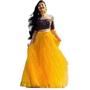 Sojitra Enterprise Women's Net Lehenga Choli (Yellow Bindu_Yellow_Free Size)