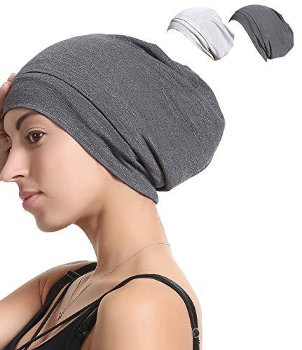 Premium Elastic Sleep Cap Slap Beanie Hat - Satin Silk lined, Bamboo Outer (W-Dark Grey/Light Gray)