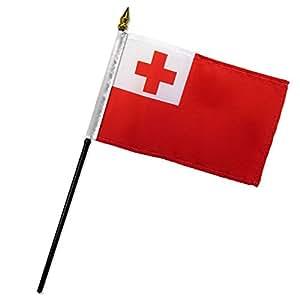"""Calidad estándar banderas una docena de Tonga bandera Stick, 4por 6"""""""