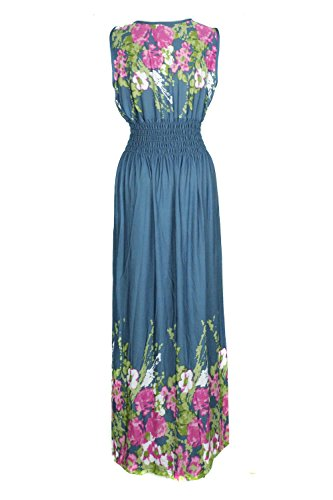 a8 Spring Summer and Printed Women's and Patterned Chic G2 Blue Bohemian Dress PYaA4wq