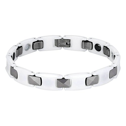 AMDXD Jewelry Tungsten Link Bracelets for Men H Rectangular White Silver 20.3X1CM