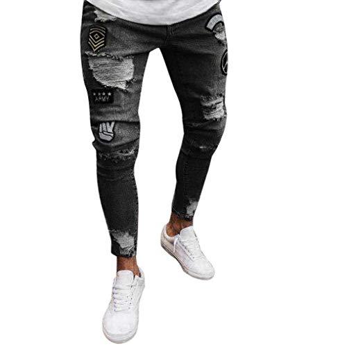 Casual Moderna Slim Biker Uomo Lock Haidean Jeans Glich Pantaloni Dunkelgrau Strappati Denim Da Sfilacciati 8wqXA5I