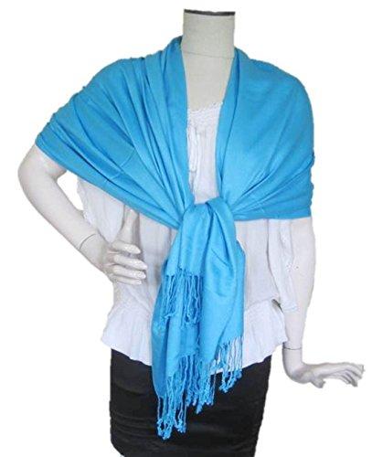 Summer Casual Muslim Dress with Jacquard Sleeve (Blue) - 4