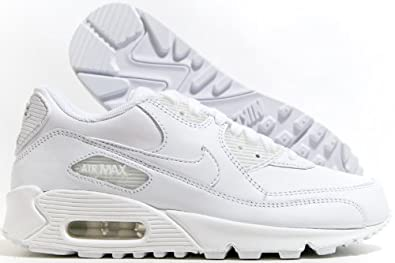 nnfgx Nike Air Max 90 Leather Shoes 307793 111 White White (UK 6