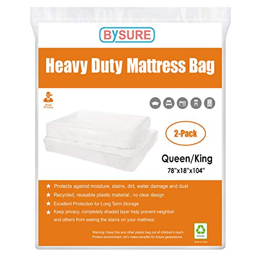 BYSURE 2 Pack 5 Mil Extra Thick Mattress Bag for Moving and Storage - Opaque White Not Clear - Protecting Your Mattress and Your Privacy, Fits Queen/King Size ()