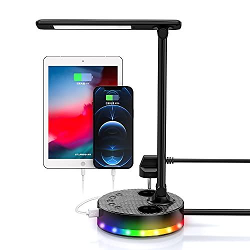 Lampe de Bureau LED, Lampe de Table avec 4 USB 2 Prises, Dimmable 4 Niveaux pour Lecture/Travail, Flexible Contrôle Tactile Lampe de Lecture Protection des Yeux (Noir)