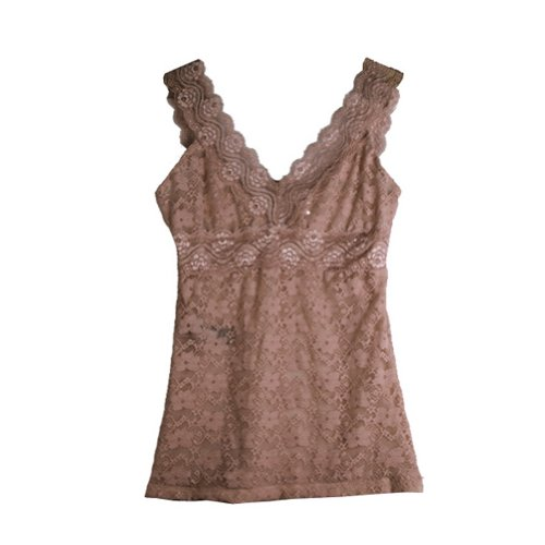 Zacoo Women's V Vest Lace Tank Tops L Coffee Cami Coffee