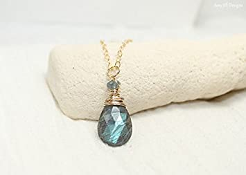 Collar de labradorita, aguamarina de musgo, colgante de alambre, joyería de labradorita, collar de piedras preciosas, chapado en oro de 40,6 cm.