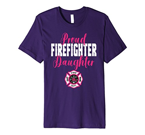 (Mens Proud Firefighter Daughter T-Shirt for Support of Dad, Mom 2XL Purple)