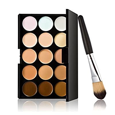 LEORX Face Contour Kit Highlighter Makeup Kit 15 Colour Cream Concealer Palette with Brush