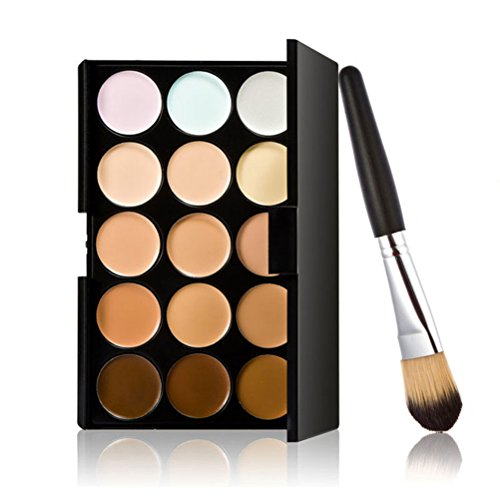 LEORX Face Contour Kit Highlighter Makeup Kit 15 Colour Cream Concealer Palette with Brush by LEORX
