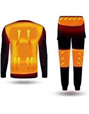 Electric Heating Thermal Underwear USB Heated Underwear for Men Women Winter Warm Lining Long Sleeve Top and Pants Set