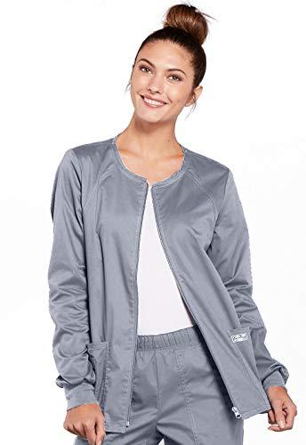 CHEROKEE Women#039s Ww Core Stretch Zip Front Warmup Jacket Grey Medium