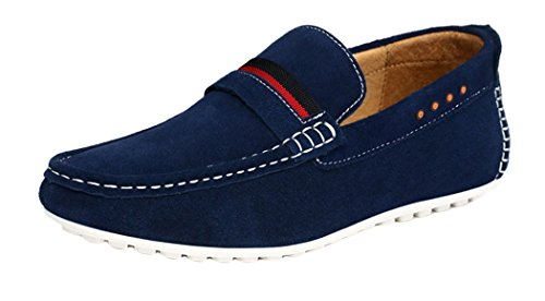 WUXING Men's Leather Brief Handsome Guys Casual Flat Moccasin(10 D(M)US,dark blue)