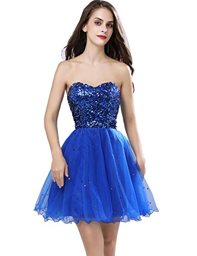 6765d5c5f78d Belle House Women Short Homecoming Dresses 2018 A Line Prom Dresses Royal  Blue Sequins for Juniors Strapless Party Ball Gown