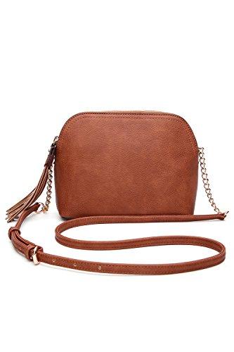 MKF Crossbody Bags for women - Adjustable Strap - Vegan Leather - Crossover Side Messenger Womens Purse Brown (Lucky Slip Satchel)
