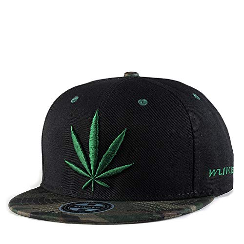 Snapback Hiphop Cap Cannabis Marijuana Weed Leaf Flat Peak Baseball Caps, Super Star Snakeskin Hip Hop Bling Unisex Hats for Men and Ladies,E ()