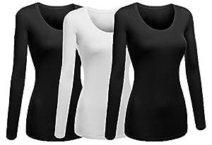 Emmalise Women's Plain Basic Cotton Spandex Scoop Neck Long Sleeve T Shirt