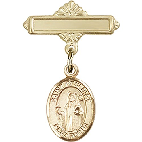 14kt Yellow Gold Baby Badge with St. Benedict Charm and Polished Badge Pin 1 X 5/8 inches by Unknown