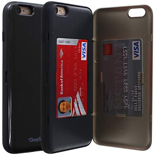 CheapSunday CSD01P for iPhone 6 Plus Credit Card Door Case, Hidden ID Slot Credit Card Holder Hard Cover [Mirror] for iPhone 6S Plus (Black/Gun Metal Grey)