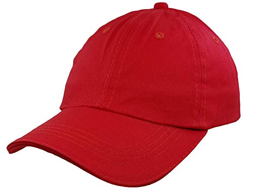 Baseball-Cap-Hat-Boys Kids Adjustable Plain - Unisex Unconstructed Low Profile Cotton Fit 4-12 Years Red (Red Hat For Boys)