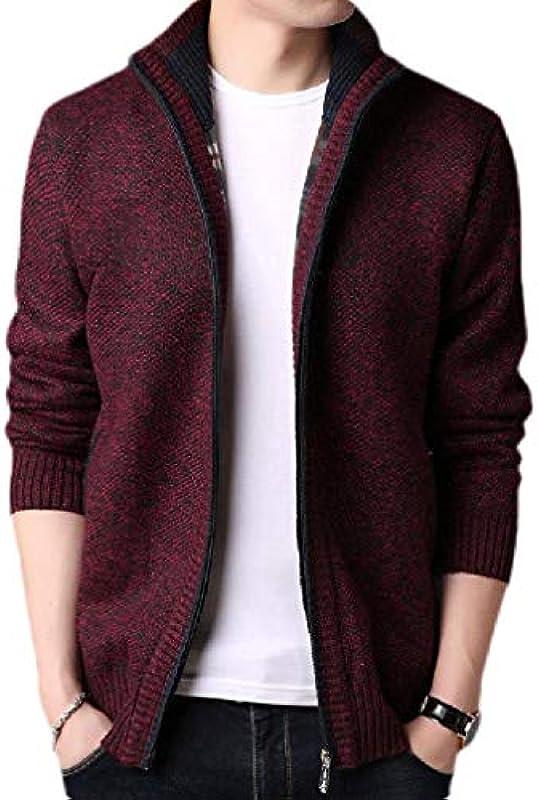 MU2M Men Fashion Knit Solid Button Up Open Front Cardigan: Odzież