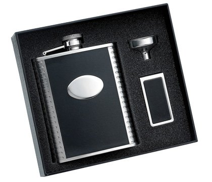 (Aeropen International GFM-1206 6 oz. Black Bonded Leather with Ribbed Sides with Oval Convex Stainless Steel Flask)