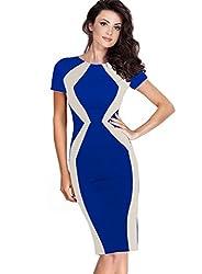 Vfemage Womens Elegant Optical Illusion Contrast Slim Wear To Work Dress 2881 BLU 20