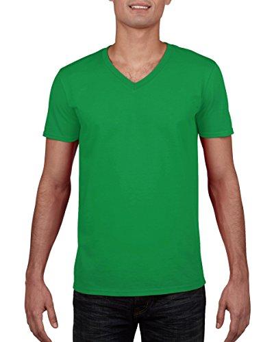Gildan Mens Soft Style V-Neck Short Sleeve T-Shirt (M) (Irish Green)]()