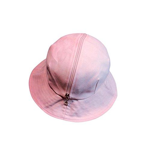 Women New Fashion Star Topee Topi Sun Zipper Hat Beach Cap (Pink)