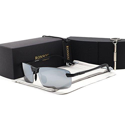 Ronsou Men UV400 Rimless Aluminium-Magnesium Polarized Sunglasses Mirrored For Driving Fishing Golf Outdoor black frame/silver - Sunglasses Snooki