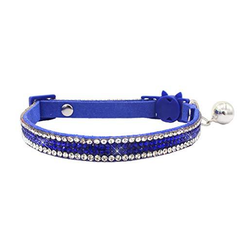 THAIN Basic Adjustable Cat Collar Bling Diamond Breakaway with Bell for Kitten Girl boy (Blue)