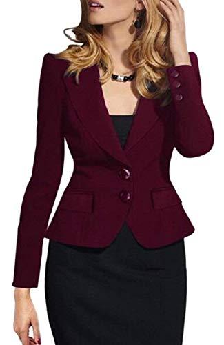 Longues Couleur Revers Manches Office Boutonnage Automne Mode Rouge Fit Blazer Veste lgant Unie Courte Femme Slim Outerwear Simple Chic Manteau qYB1B