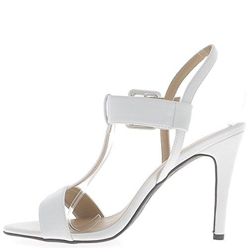 Sandalias talla blanco mate en talón de bridas ancho 12 cm