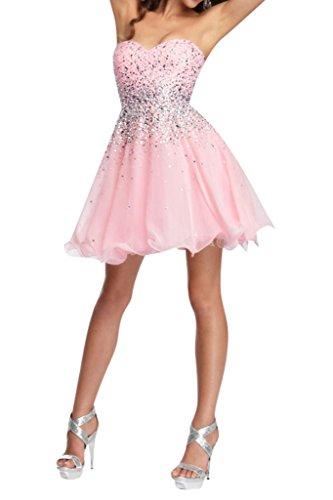 Cockteilkleid Chiffon Ausschnitt Kurz Abendkleid Ivydressing Herz Damen Rosa Steine Sweetheart q1pwSZ