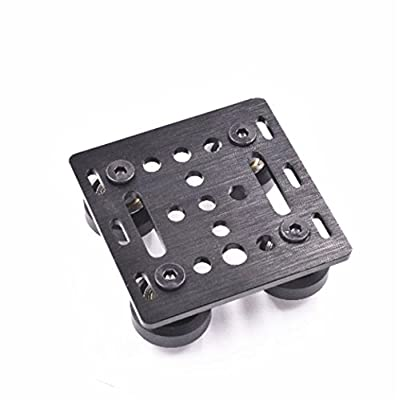 WillBest 1pcs Black Anodized Aluminum V-Slot Gantry Plate Set- 20mm with Solid Wheel