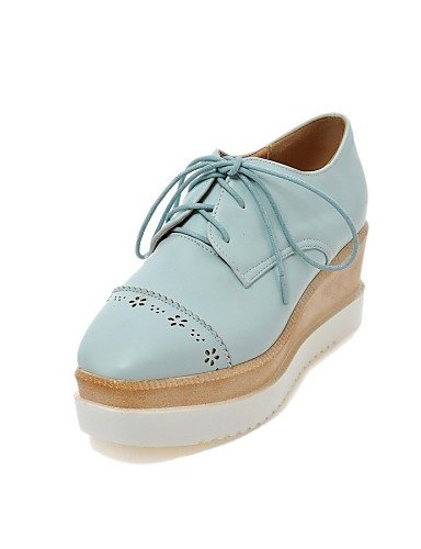 Casual azul De Tacón Zapatos Cuña Zq Cn43 Redonda Cn34 us5 Uk8 Uk3 Black Oxfords Negro punta 5 us10 rosa Mujer Pink Tacones Semicuero Eu35 blanco Eu42 5 7vAnf