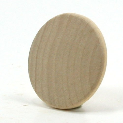 Mylittlewoodshop Pkg of 50 - Round Circle Disk - 1 inch in diameter with beveled edge and 1/8 inch thick unfinished wood (WW-WNC100-50)