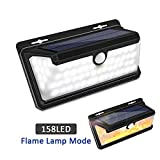 Solar Lights Outdoor, LEDMEI Solar Motion Sensor Lights Waterproof IP65 270 Wide Angle Solar Powered Security Wireless Wall Lights with Flame LED Bulb for Garage, Garden, Driveway, Backyard For Sale