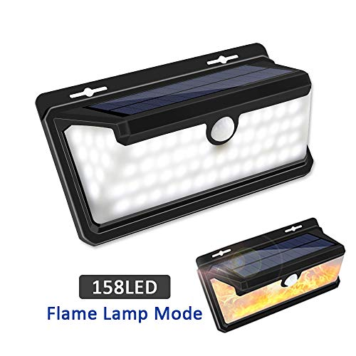 Solar Lights Outdoor, LEDMEI Solar Motion Sensor Lights Waterproof IP65 270 Wide Angle Solar Powered Security Wireless Wall Lights with Flame LED Bulb for Garage, Garden, Driveway, Backyard